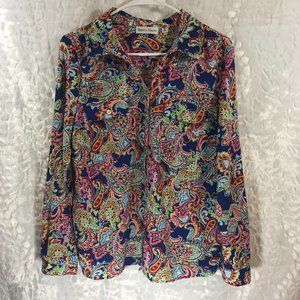 Vintage style 70's look great paisley button top